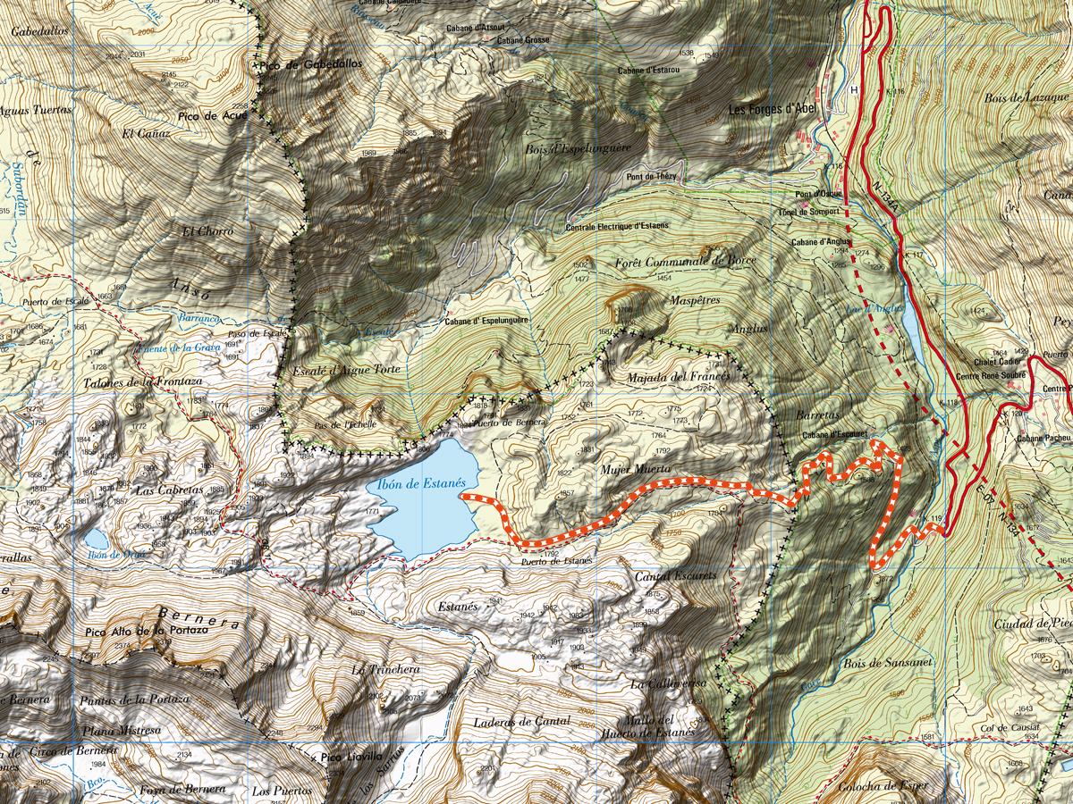 Mapa Topográfico Ibon de Estanés