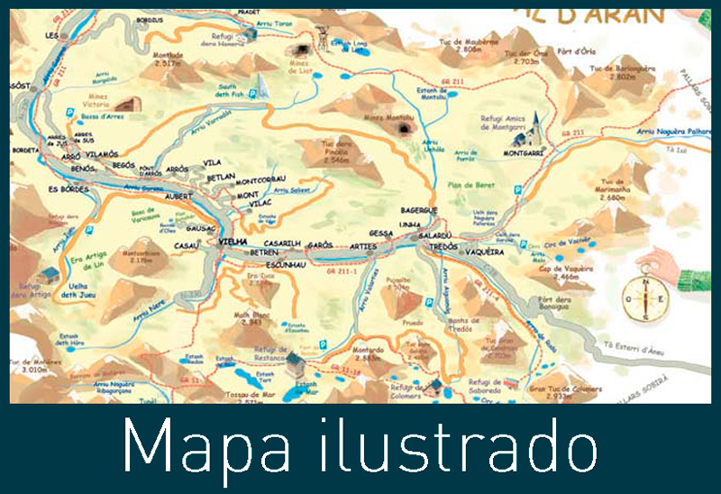 mapa-ilustrado, illustratet map, Val d'aran, mapa, Pyrenees